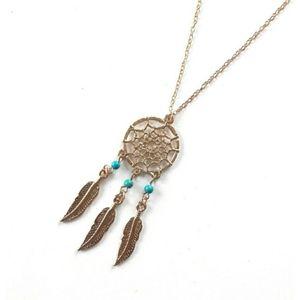 BOHO gold tone turquoise dream catcher necklace